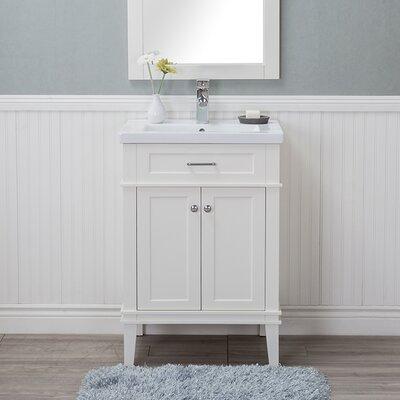 Guzman 24 Single Plywood Bathroom Vanity Set with Ceramic Top Finish: White