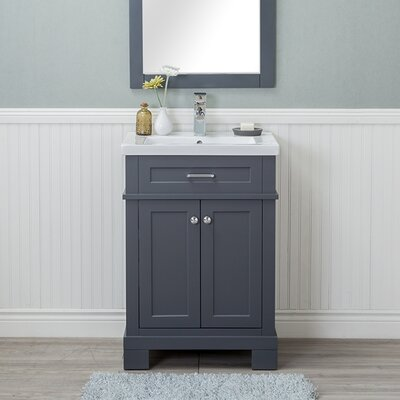 Guzman 24 Single Bathroom Vanity Set with Ceramic Top Finish: Gray