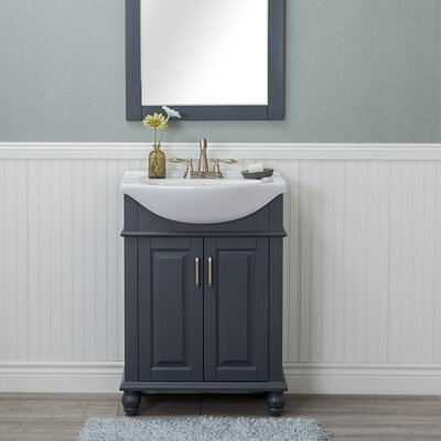 Guzman 24 Single Bathroom Vanity Set with Porcelain Sink Finish: Gray