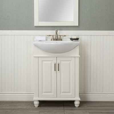 Guzman 24 Single Bathroom Vanity Set with Porcelain Sink Finish: White