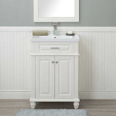 Guzman 24 Single Plywood Bathroom Vanity Set Finish: White