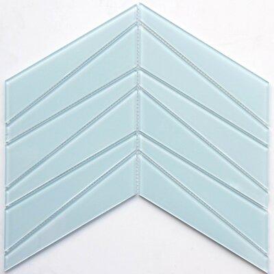 8.5 x 12 Glass Chevron in Light Blue