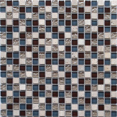 0.6 x 0.6 Travertine and Glass Mix Mosaic Tile in Blue/Brown/Beige