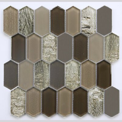 11.8 x 11.8 Glass Mosaic Tile in Glossy Brown/Gray