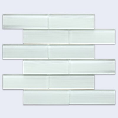 Grizzled 6 x 2 Glass Subway Tile in Ice White