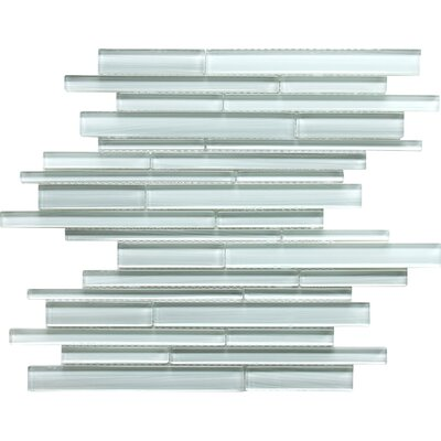 Grizzled Glass Interlocking Mosaic Tile in Ice White