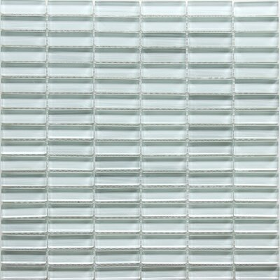 Mini Brick 0.6 x 1.88 Glass Mosaic Tile in Ice White
