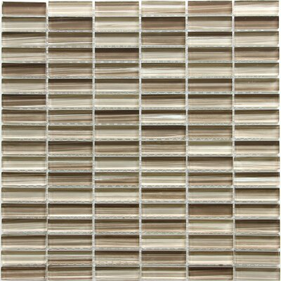 0.6 x 1.87 Glass Mosaic Tile in Mix Brown