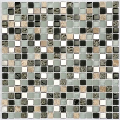0.6 x 0.6 Metal Glass and Stone Mix Mosaic Tile in Gray/Black