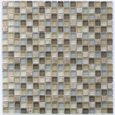 0.6 x 0.6 Light Emperador Marble and Glass Mix Mosaic Tile in Brown/Beige Mix