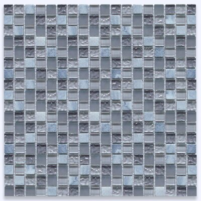 0.6 x 0.6 Marble and Glass Mix Mosaic Tile in Blue