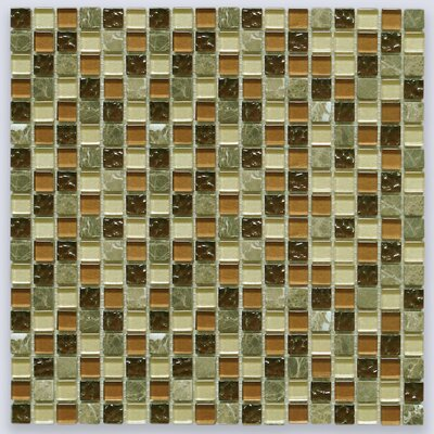 0.6 x 0.6 Stone and Glass Mix Mosaic Tile in Brown