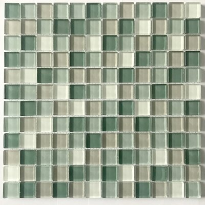 Square 1 x 1 Glass Mosaic Tile in Green Mix