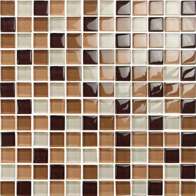 Square 1 x 1 Glass Mosaic Tile in Brown/Beige Mix