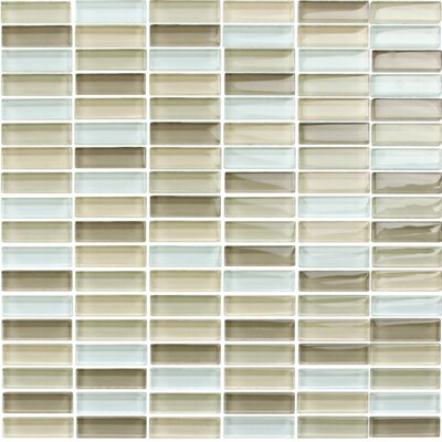 Mini Brick 0.95 x 1.95 Glass Mosaic Tile in Mix Light Brown