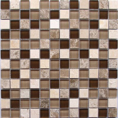 1 x 1 Light Emperador Crema Marfil Marble and Glass Mosaic Tile in Brown/Beige Mix