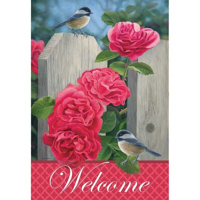 "Checkadees and Roses 2-Sided Garden Flag Size: 18"" H x 13"" W 08803"