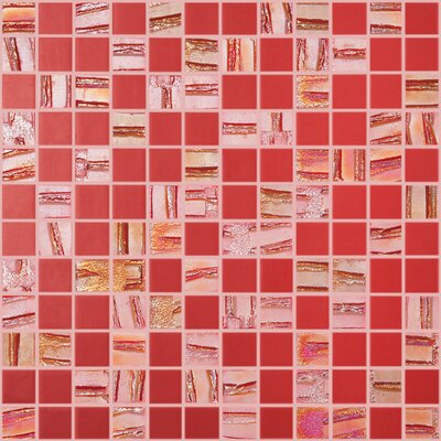 Moon Blends 12.375 W x 12.375 L Eco Glass Mosaic in Red Velvet