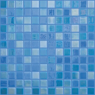 Lux Eco 12.375 W x 12.375 L Glass Mosaic in Blue Lagoon