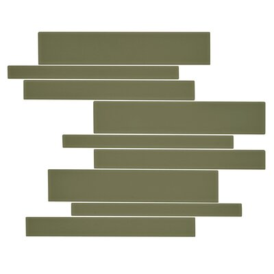 Linear Glass Random Sized Mosaic Tile in Tortuga Green