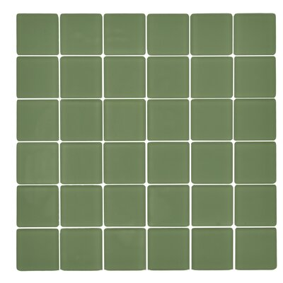 Traditional Glass 2 x 2 Mosaic Tile in Tortuga Green