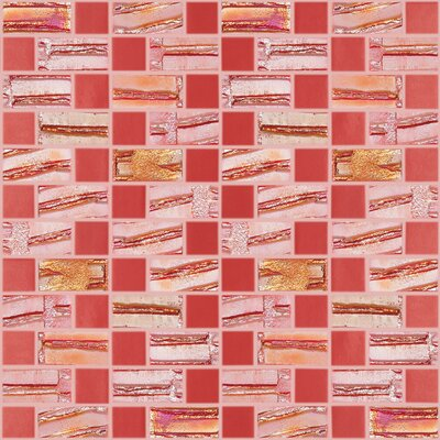 Moon Blends 12.375 W x 12.375 L Eco Glass Mosaic in Scarlet Red