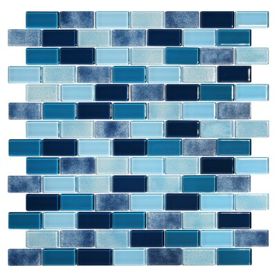 Tides 0.75 x 1.63 Glass Mosaic Tile in Ultramarine