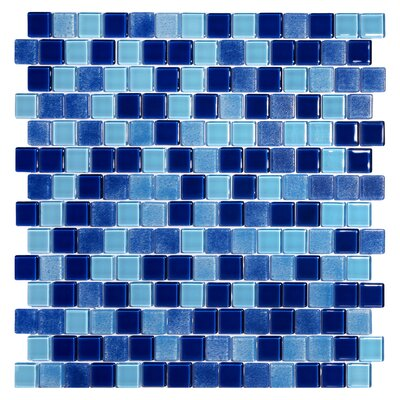 Tides 0.75 x 0.75 Glass Mosaic Tile in High Tide