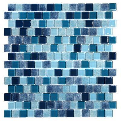 Tides 0.75 x 0.75 Glass Mosaic Tile in Ultramarine