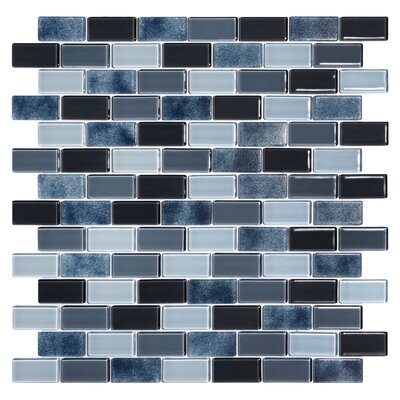 Tides 0.75 x 1.63 Glass Mosaic Tile in Shark Skin