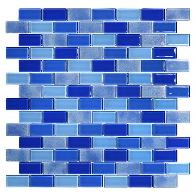 Tides 0.75 x 1.63 Glass Mosaic Tile in Cornflower