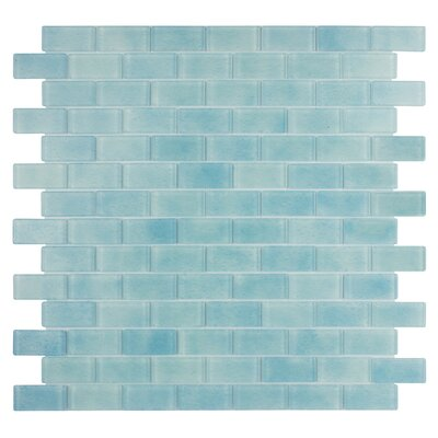 Quartz 0.75 x 1.63 Glass Mosaic Tile in Light Blue