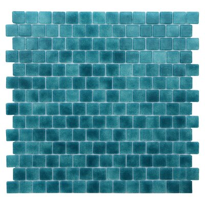 Quartz 0.75 x 0.75 Glass Mosaic Tile in Turquoise/Blue