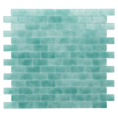 Quartz 0.75 x 1.63 Glass Mosaic Tile in Aqua/ Green