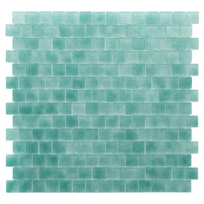 Quartz 0.75 x 0.75 Glass Mosaic Tile in Aqua/Green