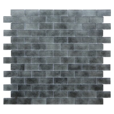 Quartz 0.75 x 1.63 Glass Mosaic Tile in Light/Dark Gray