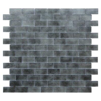 Quartz 0.75 x 1.63 Glass Mosaic Tile in Light/Dark Gray