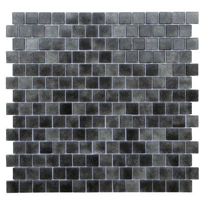 Quartz 0.75 x 0.75 Glass Mosaic Tile in Black/Gray