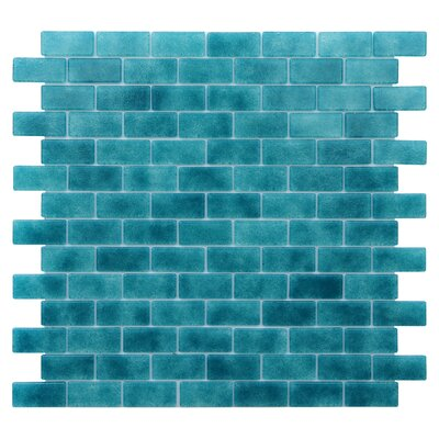Quartz 0.75 x 1.63 Glass Mosaic Tile in Turquoise/Blue