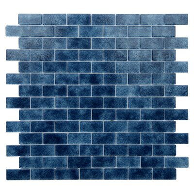 Quartz 0.75 x 1.63 Glass Mosaic Tile in Dark Blue