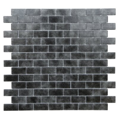 Quartz 0.75 x 1.63 Glass Mosaic Tile in Black/Gray