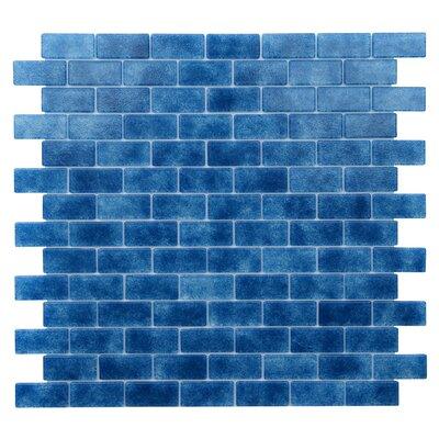 Quartz 0.75 x 1.63 Glass Mosaic Tile in Blue/Lapis Blue