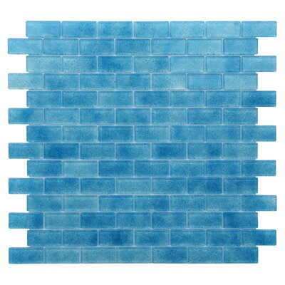 Quartz 0.75 x 1.63 Glass Mosaic Tile in Blue