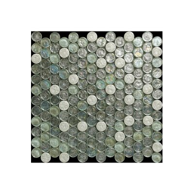 Bianco Glass Mosaic Tile in Light Gray/Turquoise