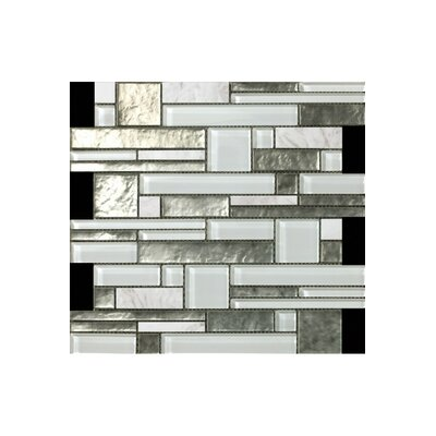 Random Sized Glass Mosaic Tile in White/Silver