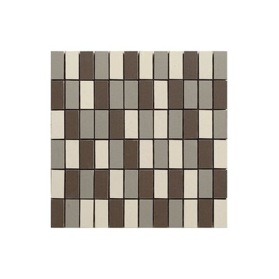 Basic 12 x 12 Porcelain Mosaic Tile in Cream/Black