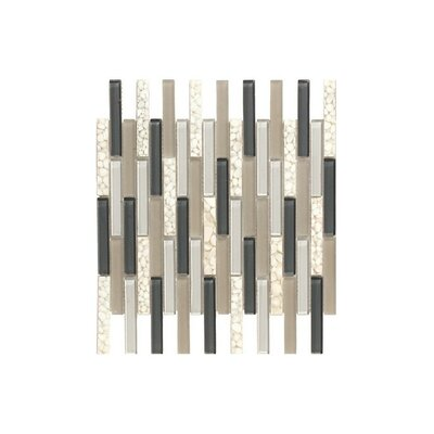 Santa 12 x 12 Glass Mosaic Tile in Cream/Black