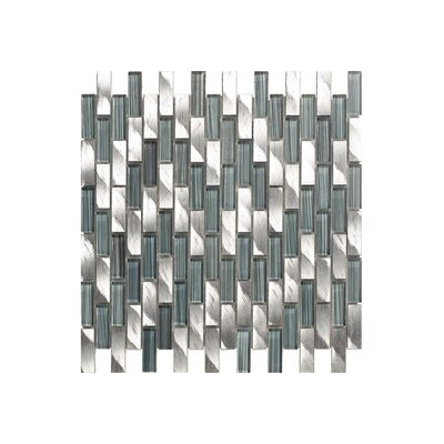 12 x 12 Glass Mosaic Tile in Silver/Gray