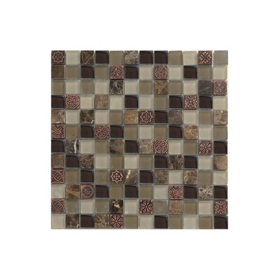 Port King 12 x 12 Glass Mosaic Tile Black/Brown