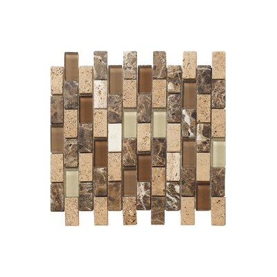 12 x 12 Glass Stone Mosaic Tile in Matte Brown